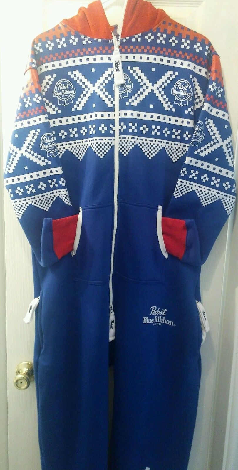 Pabst Blue Ribbon Beer Hoodie Sweater Onecie Pbrnewlarge