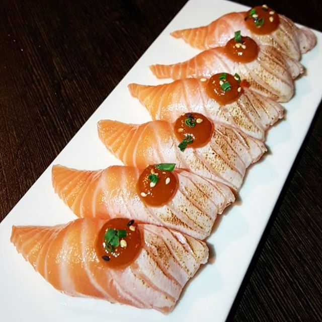Aburi Salmon Nigiri to start a friend's birthday meal at Bonsai Japanese Restaurant in Northbridge - garnished with den-gaku miso with sprinkles of sesame & chives//What fresh salmon sashimi really enjoyed the half aburi and half fresh sushi idea. #mayybitesinnorthbridge #mayybitesperth by mayybites