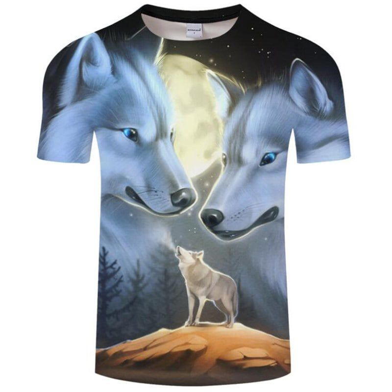 Wolf 3D Print Mens Womens Casual Short Sleeve Crew Neck T-Shirt Graphic Tee Tops