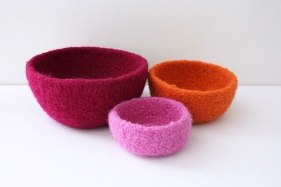 Felted bowls