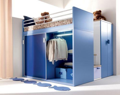 Bunte Kinderzimmermöbel Hochbett Kleiderschrank Unten
