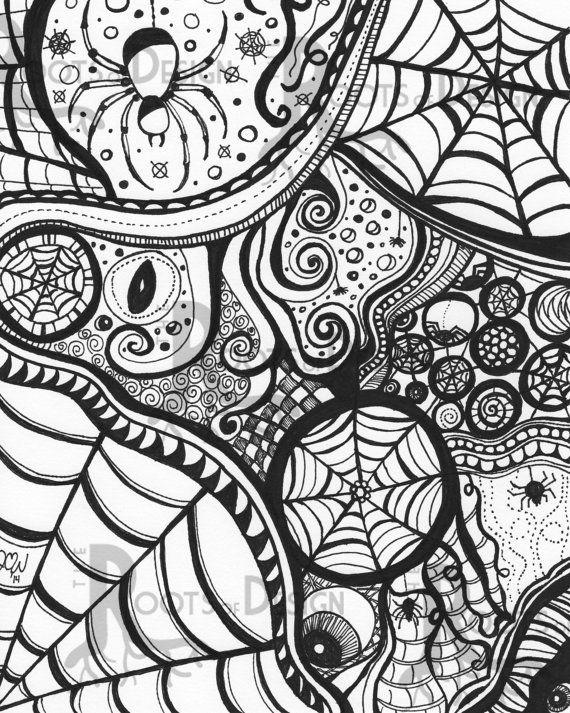Instant Download Coloring Page Spiderart Print Zentangle