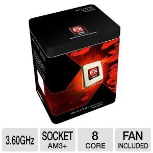 AMD FD8150FRGUBOX FX-8150 Processor - Eight Core, 8MB L3 Cache, 8MB L2 Cache, 3.60GHz (4.20GHz Max Turbo), Socket AM3+, 125W, Fan, Unlocked, Retail