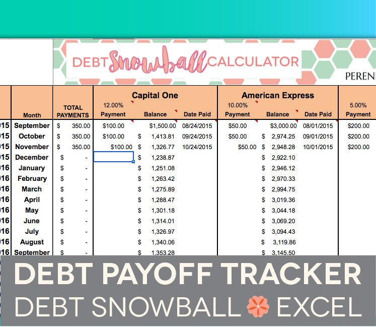 Debt Payoff Spreadsheet - Debt Snowball, Excel, Credit Card Payment - simple credit card calculator