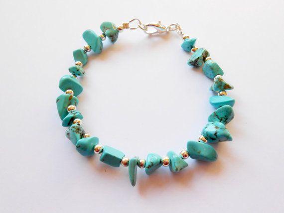 Turquoise Magnesite Bracelet Semi Precious by EarthWisdomJewellery
