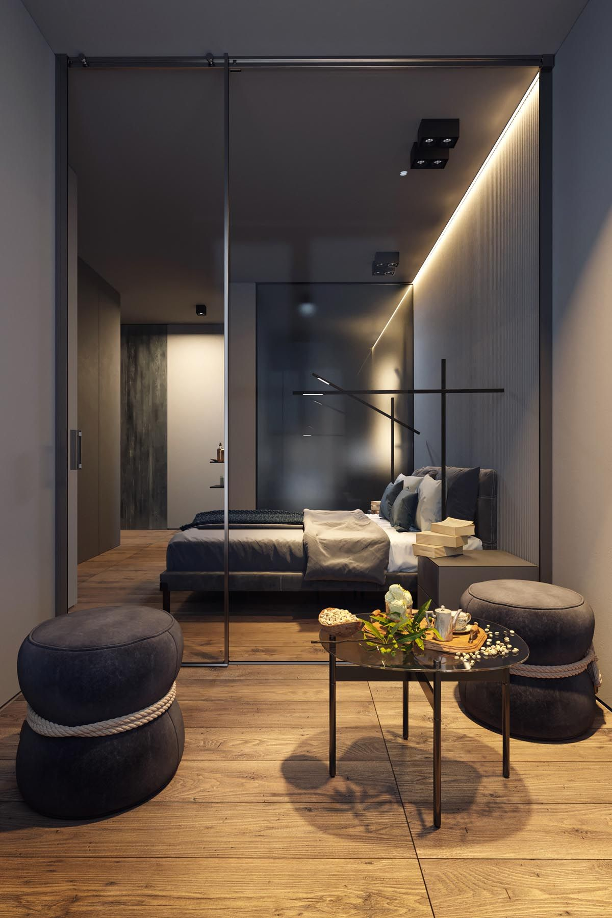 Dark Grey Home Decor With Warm Led Lighting Loft Interior Design Modern Bedroom Interior Apartment Design