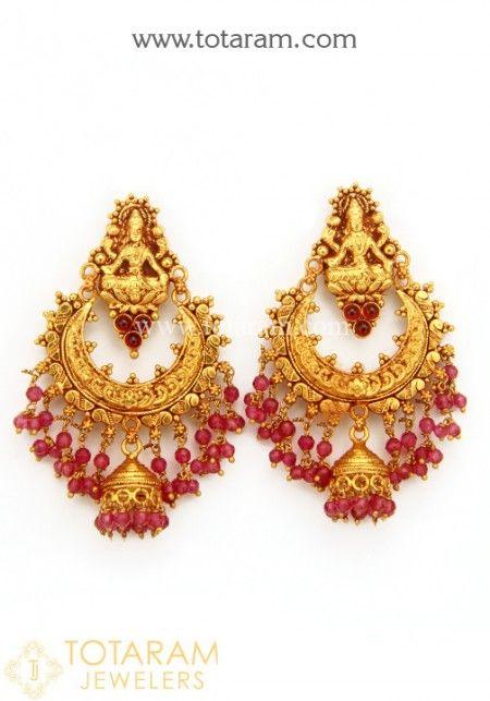 Temple Jewellery Earrings Buy line 22K Gold screw back Temple