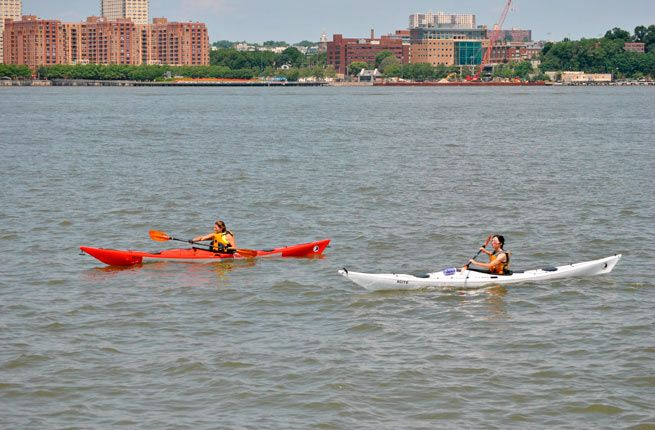 From May through October, you can take a trip down the Hudson River on one of the Downtown Boathouse's free kayaks on weekends and select days throughout the week. With all the instructions and safety equipment included, it's easy to take advantage of this aquatic activity, held at Pier 26, just north of Battery Park City