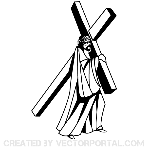 Jesus Christ Carrying The Cross Image Free Religion Vectors