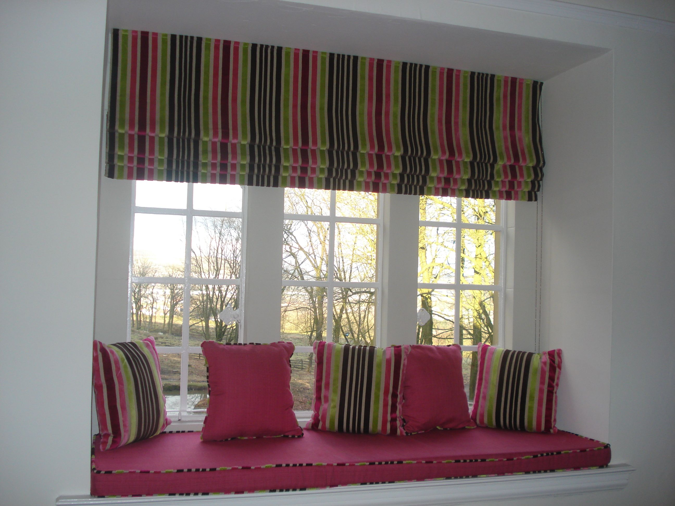 Roman Blind Window Seat And Matching Cushions Window