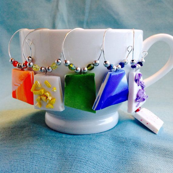 Abstract Wine Charms Set of 6 Coffee or Tea Cup by KatarooClay