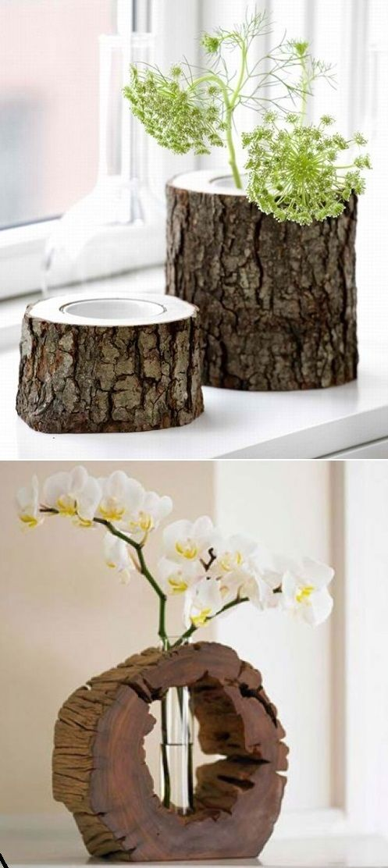Handmade vases made from tree stumps