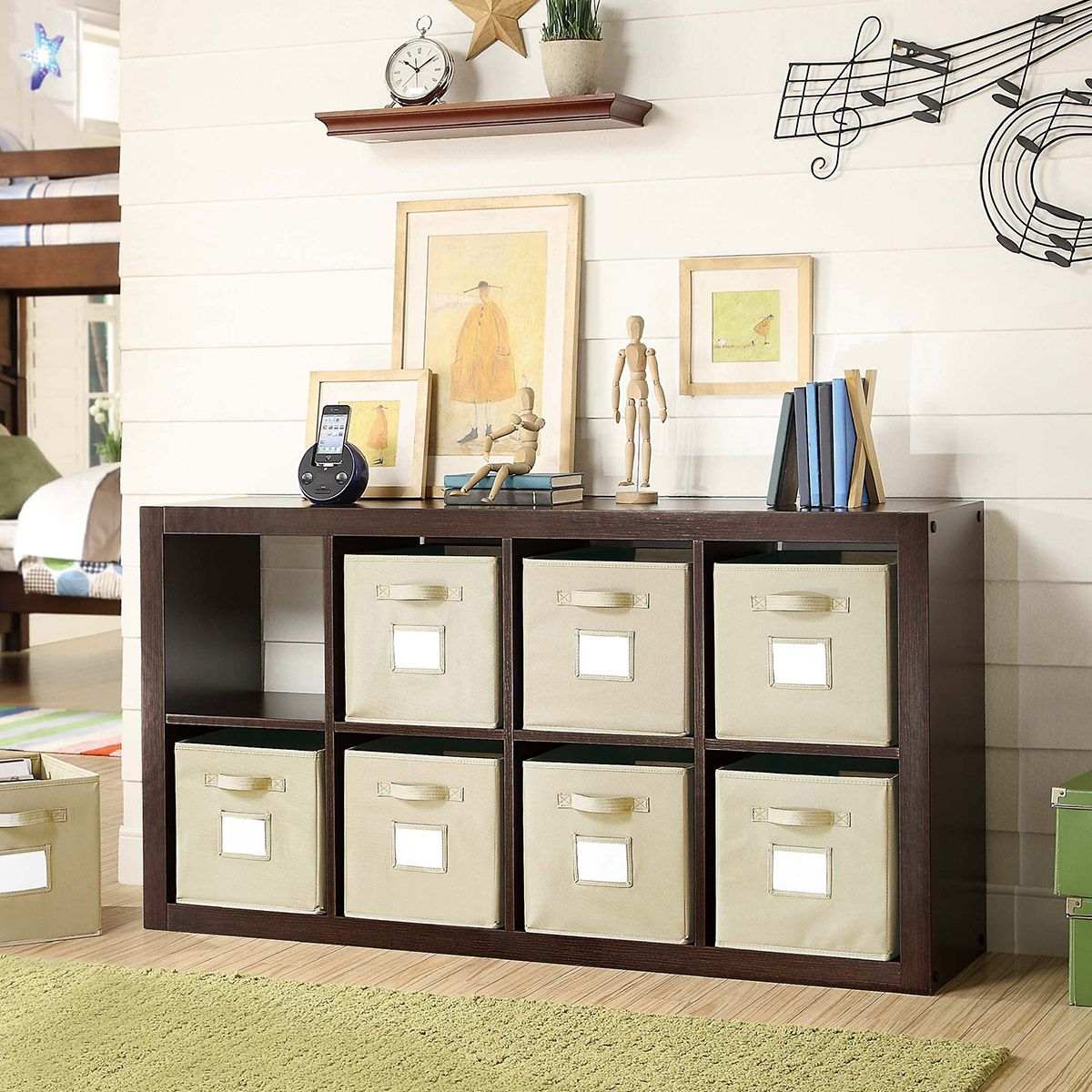 8 Cream Storage Bins Wood Mdf Pb Construction With Roast Hazelnut Melamine Arrange Vertically Or Horizontally Ideal For Bayside Furnishings Room Divider Room