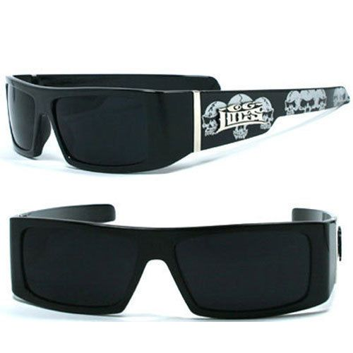 e841c59a508 Locs Mens Cholo UV400 Biker Sunglasses - Black (skull) - LC33