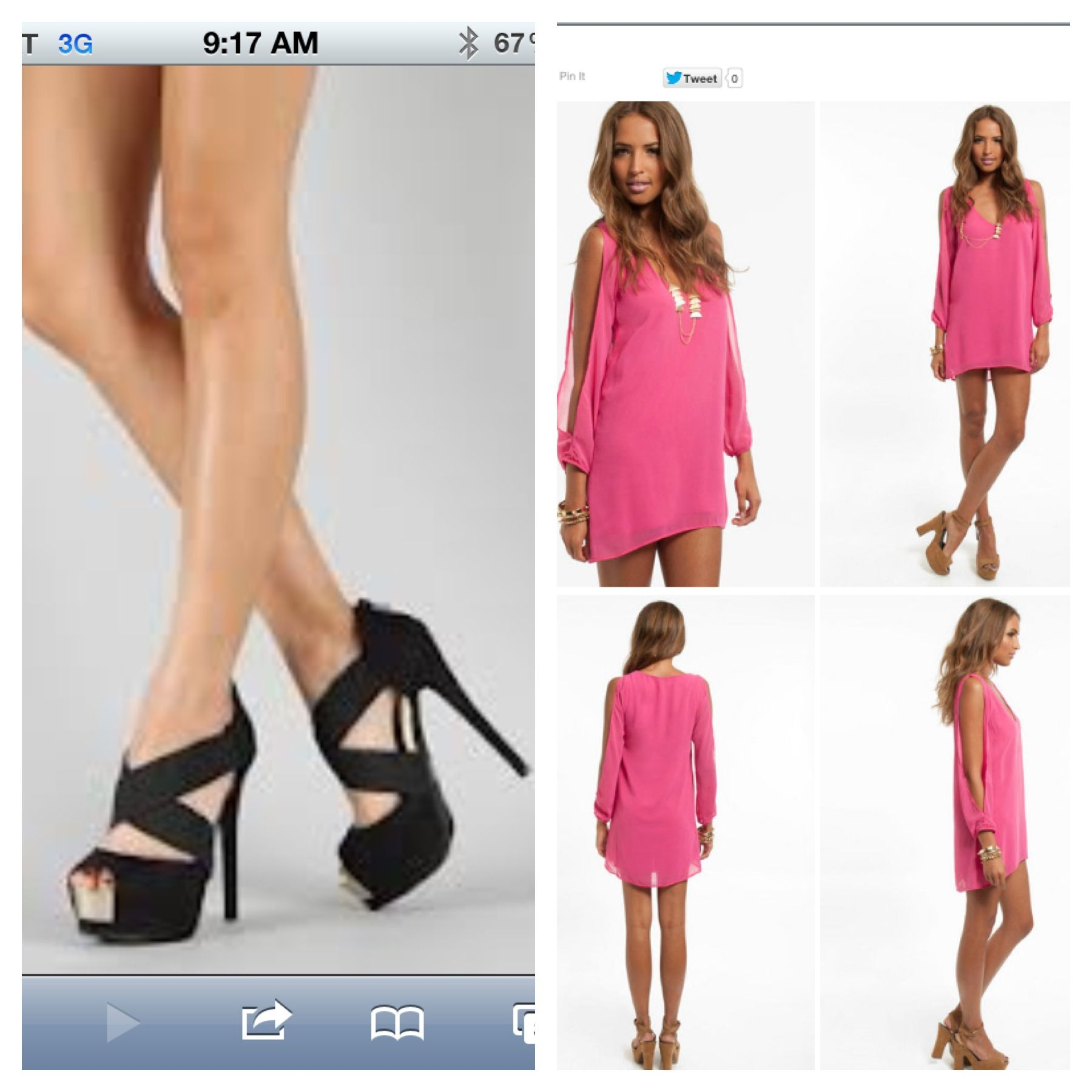 Pink Dress : Black Shoes : gold jewelry