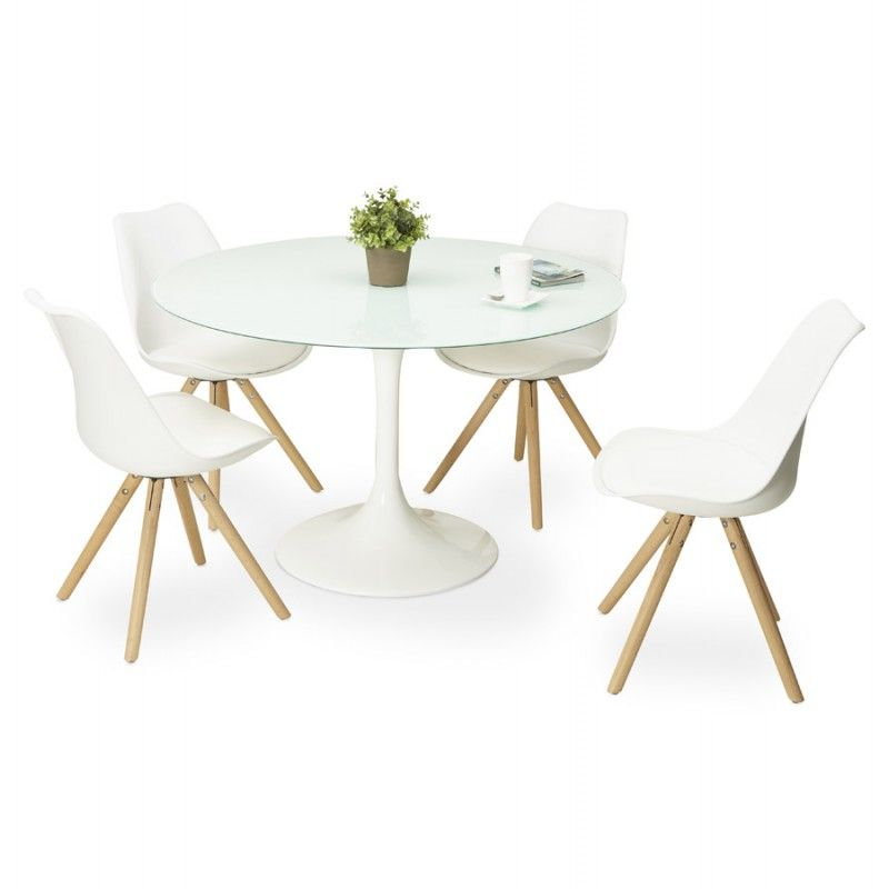 Table ronde design MARJORIE en verre (Ø 120 cm) (blanc) | Table ...