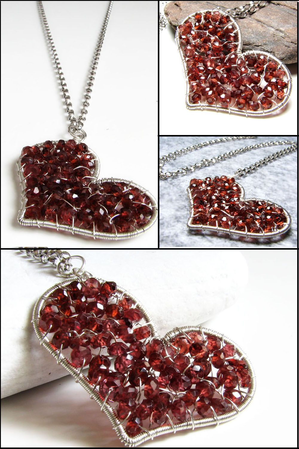 Red heart necklace in sterling silver will be a unique accessory for