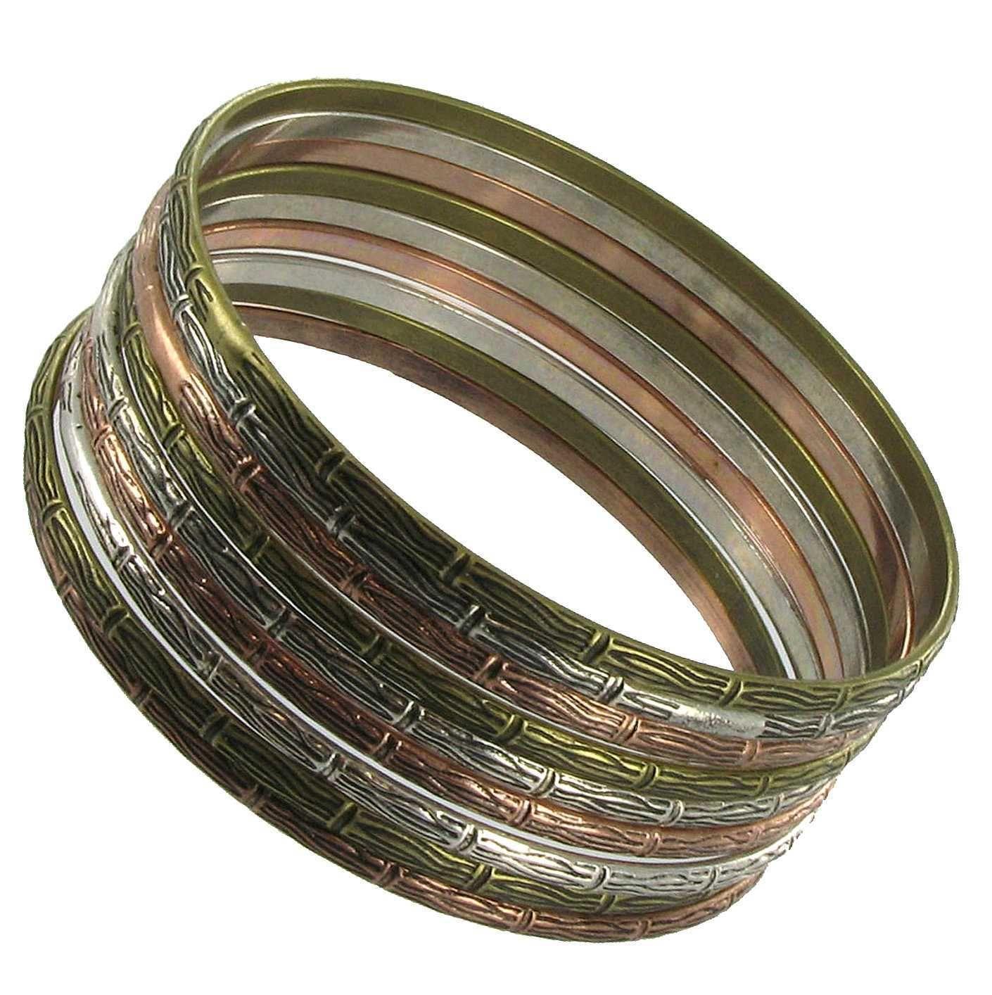 Set of 9 Bangle Bracelets inCopper Gold Silver Tone Thin Metal design.  Fun to wear.