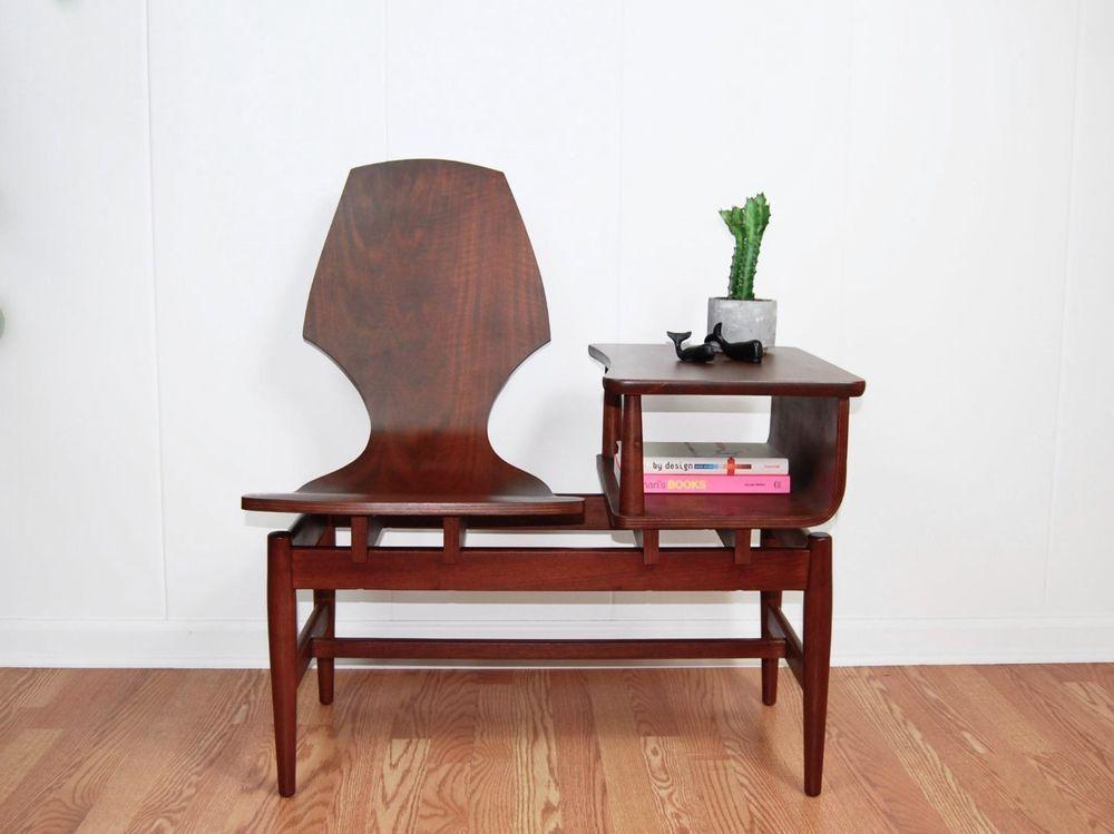 Groovy Plycraft Gossip Bench Mid Century Bentwood Telephone Chair Theyellowbook Wood Chair Design Ideas Theyellowbookinfo