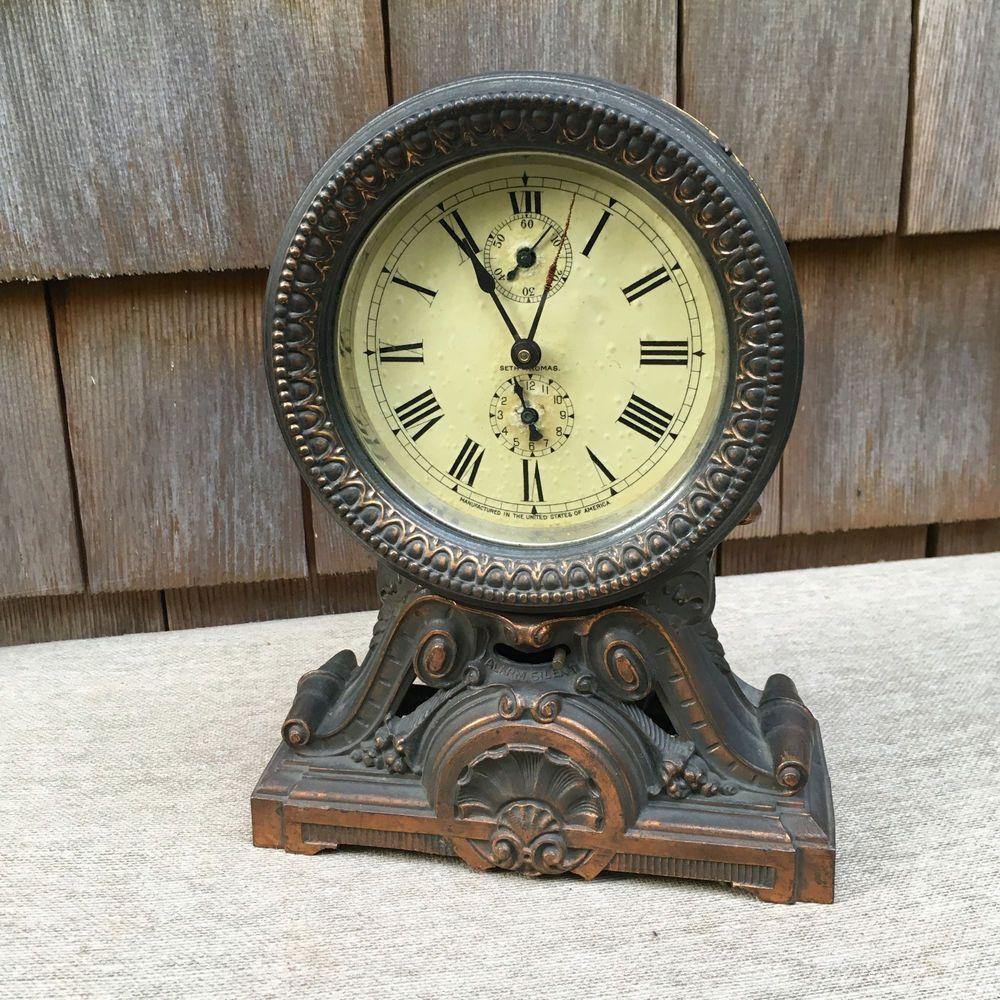 Antique Seth Thomas Baroque Cast Iron Mantle Alarm Clock Runsparts