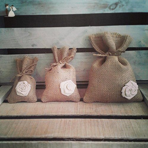 Set of 12 -Natural Burlap Favor Bags with Cream Rosettes & Jute Twine-Three Sizes Available - Wedding favors (*Amazon Partner-Link)