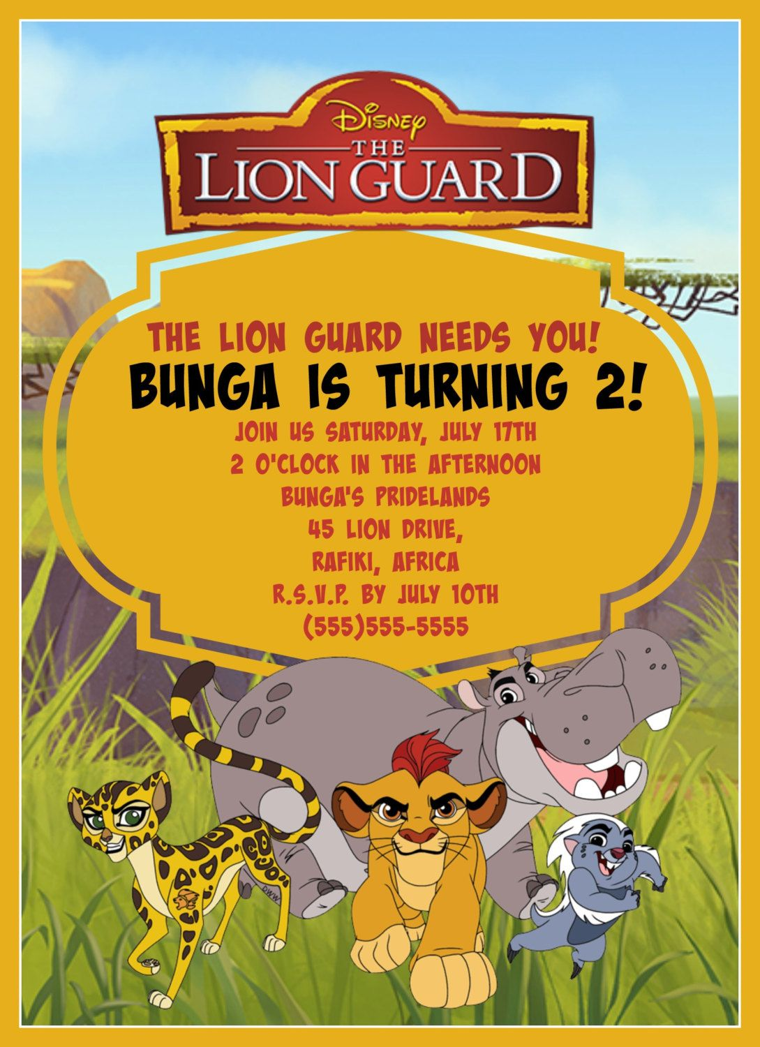 Lion Guard Birthday Invitation Digital Download By - Lion king birthday invitation template free