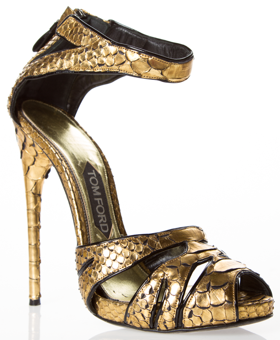 b4a68f93201 TOM FORD - strappy heels in gold snakeskin.  2