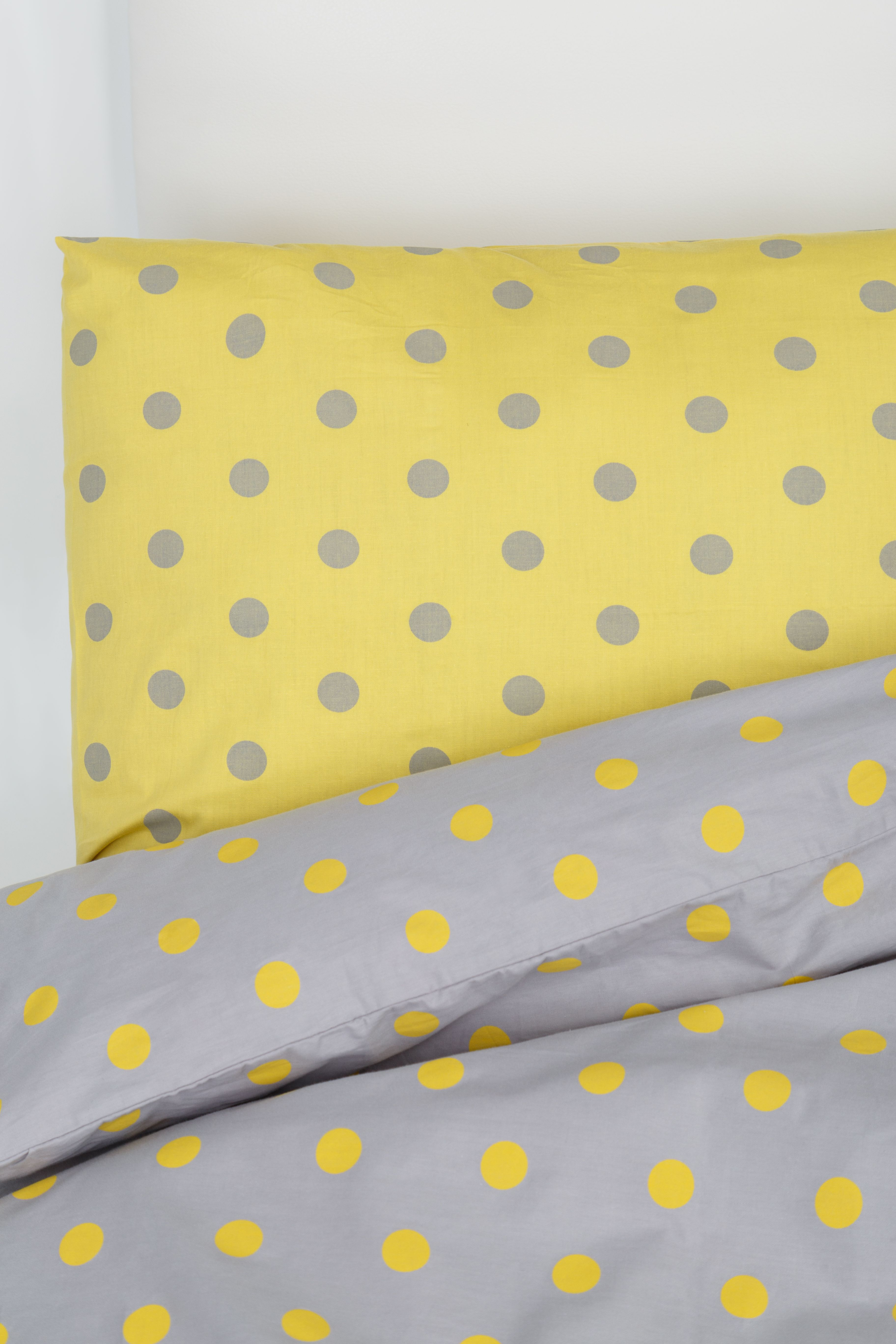 Yellow and Grey Polka Dot Bedding Set Duvet Cover 2 Pillow Cases