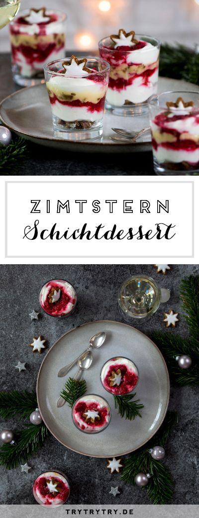 Himbeer-Zimtstern-Schichtdessert #entremetfacile