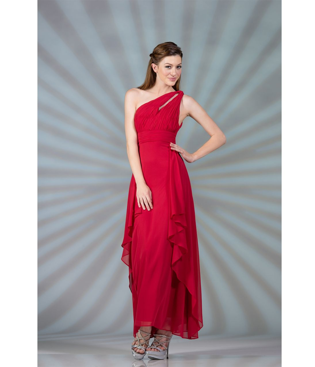 Red one shoulder gathered prom dress evening dresses pinterest
