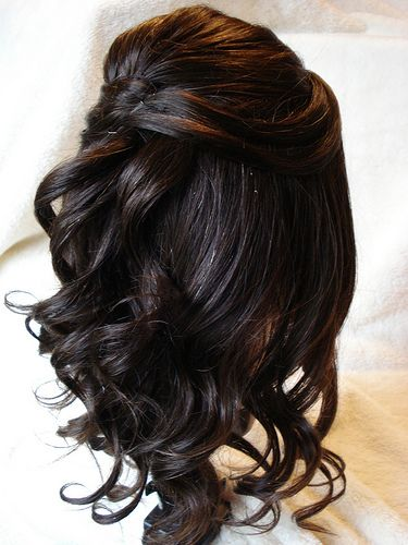 Half Up Loose Tendril With Simple Design Back View Hair Styles Prom Hairstyles For Short Hair Long Hair Styles