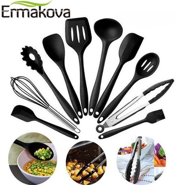 Ermakova 10 Pcs Set Silicone Kitchen Utensils Set Heat Resistant Non