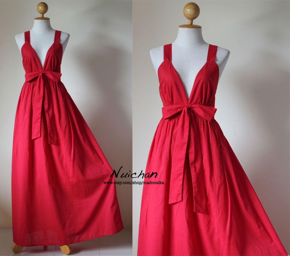 Long red dress for wedding  Long Red Dress Cocktail Bridesmaid Summer Maxi Dress  Love Party