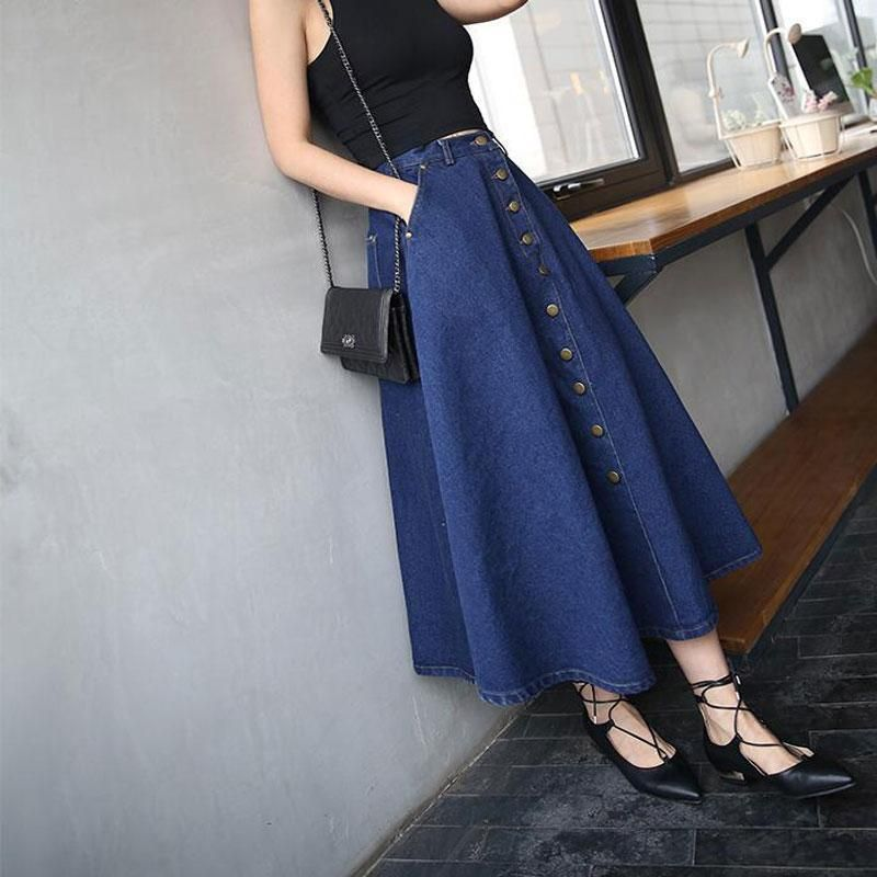 Button Front A-Line Long Jeans Skirt With Pockets