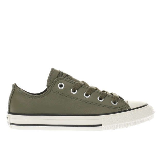 Kids Khaki Converse Chuck Taylor All Star Lo Leather Junior Trainers