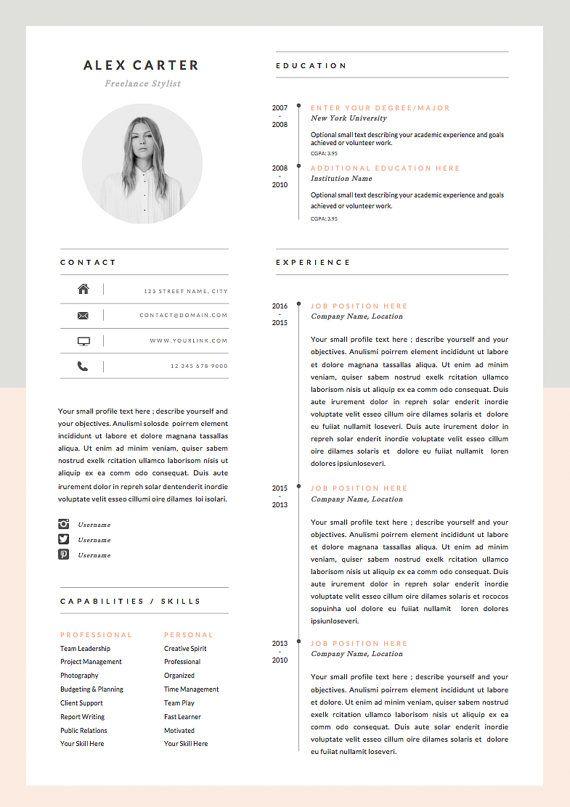 Modern Resume Template Cover Letter Icon Set For Microsoft Etsy Modele Cv Modele De Cv Moderne Cv Moderne