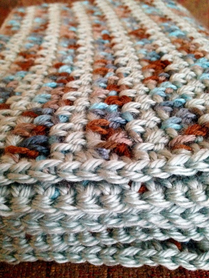 Afghan, crocheted linen/moss stitch, in Waterscape and Seafoam, Red ...