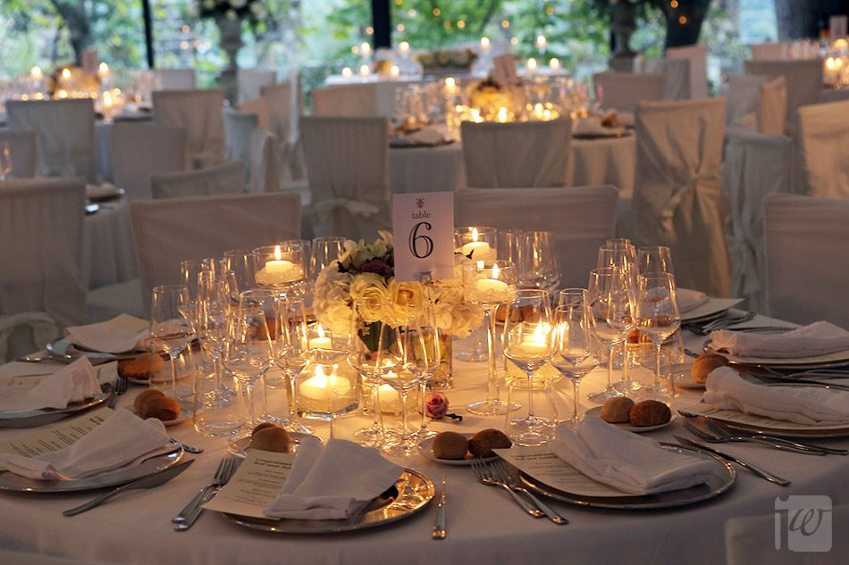 table design with heaps of candles
