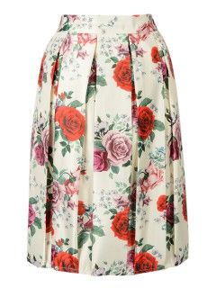 Shop Beige Rose Floral Print Midi Skirt from choies.com .Free shipping Worldwide.$23.99