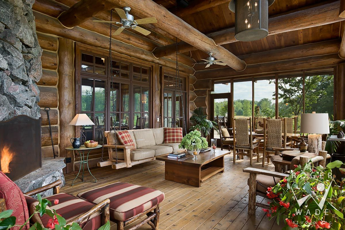 Log cabin image screened porch sitting area with for Log home porches