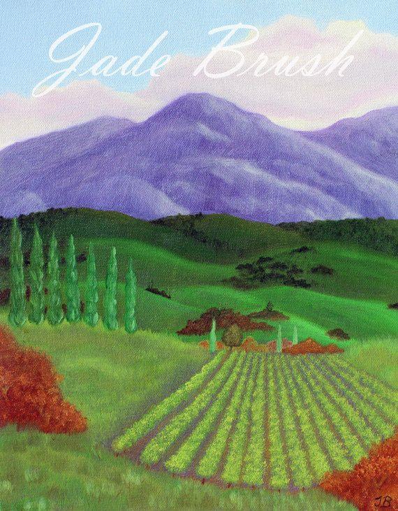 Oil Painting Print - Purple Vineyard