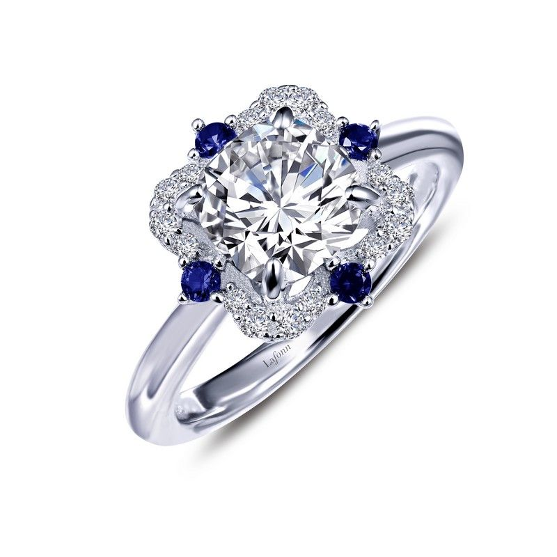 HERITAGE Art-Deco Inspired Ring by LAFONN with Simulated Diamonds & Lab-Grown Sapphires set in Platinum-Bonded Sterling Silver, MSRP $145.