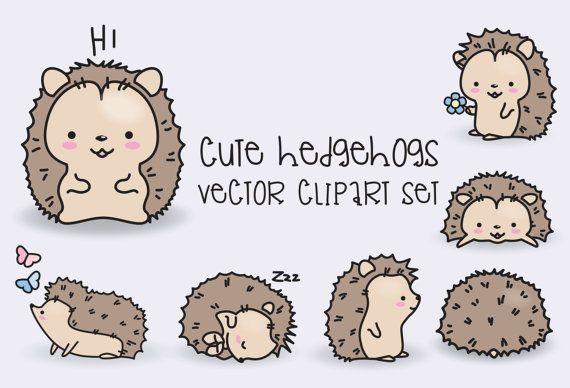 Premium Vector Clipart Kawaii Hedgehogs Cute Hedgehogs Clipart Set High Quality Vectors Instant Downlo Kawaii Kritzeleien Niedliche Zeichnungen Clipart