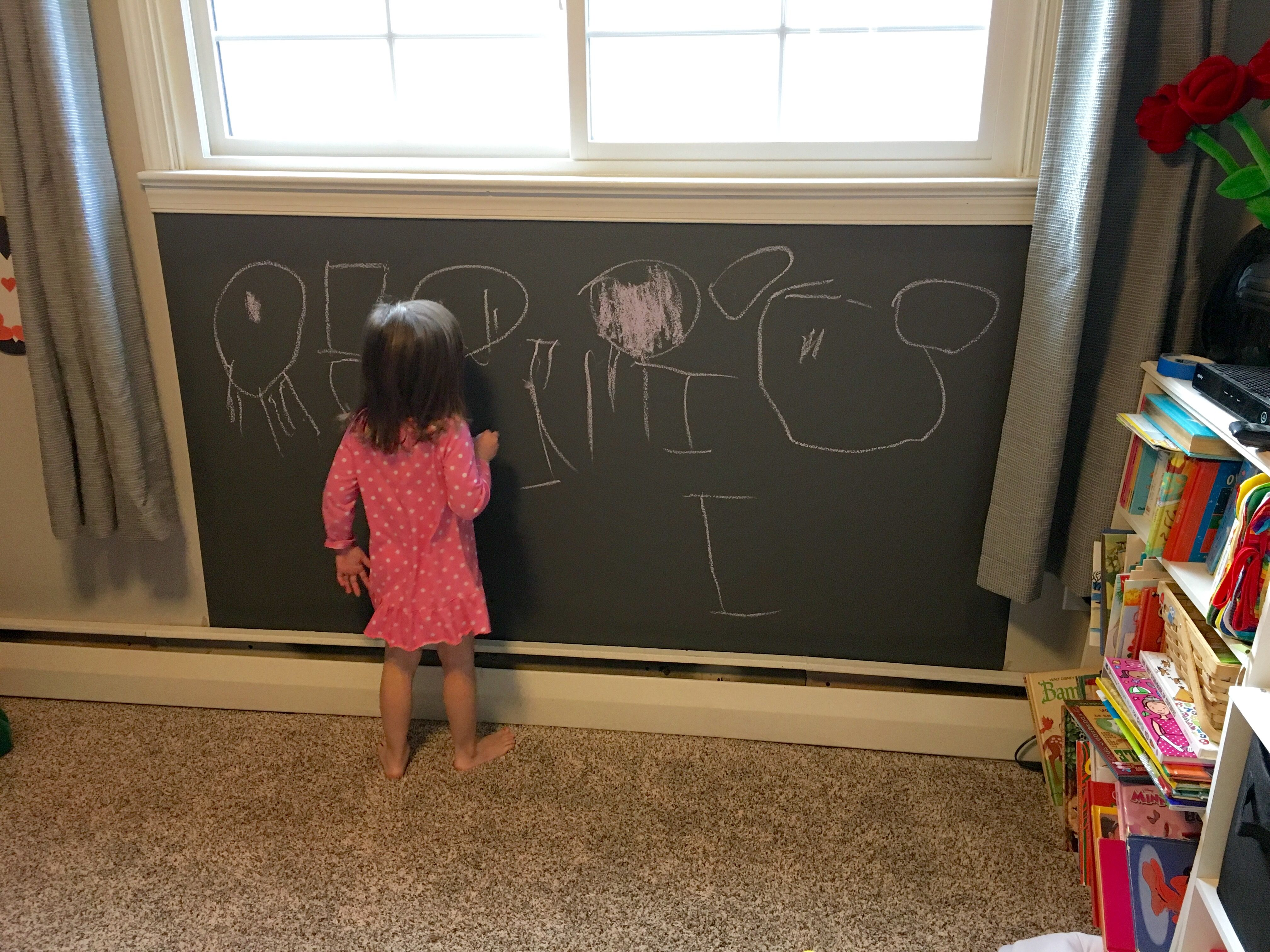 Add a magnetic chalkboard wall to your kiddos play room I used