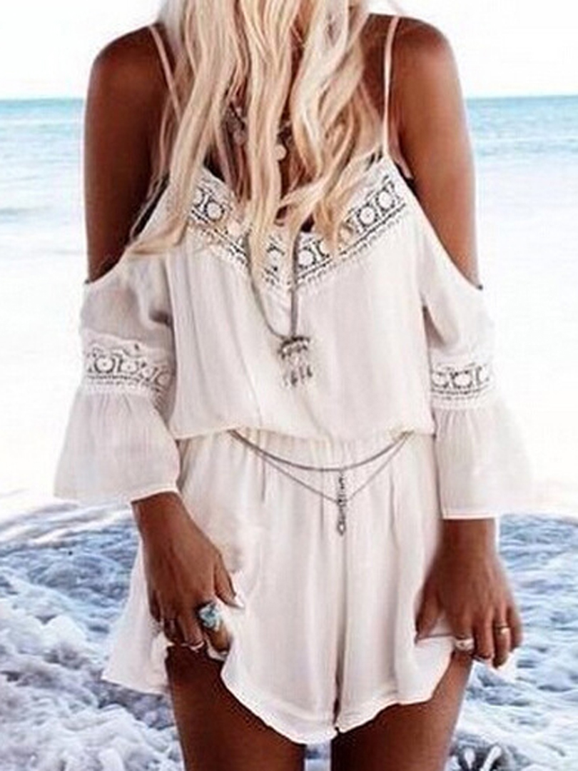 920a6b03d42 White Trumpet Sleeves Spaghetti Strap Romper Playsuit