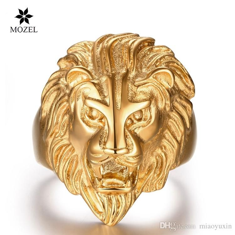 Fashion Jewelry Punk Men/'s Stainless Steel Gold Ring Lion Head Wedding Band