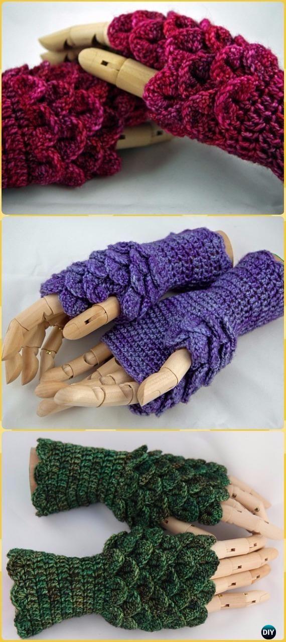 Crochet Dragonscale Gloves Paid Pattern - Crochet Dragon Scale ...