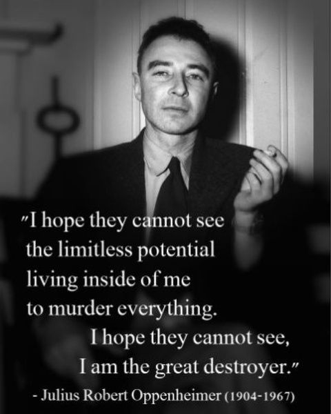 Oppenheimer Quote The Nuclear Nightmare Jews Behind The Atom Bomb  Pinterest .