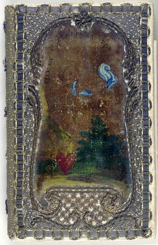 17th century painted and embroidered book cover