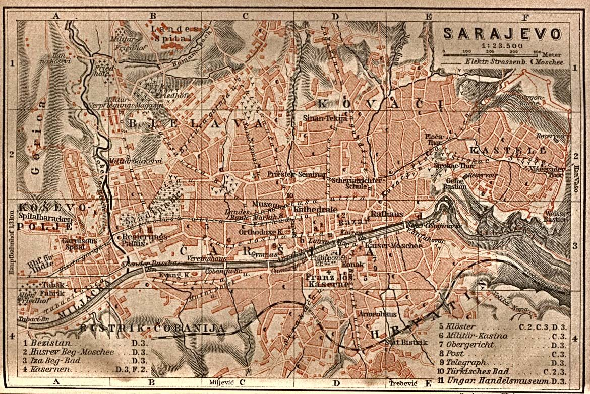 Sarajevo, 1905 | Maps & Cartography | Cartography, Vintage ... on world map of croatia and bosnia, world war one serbia on a map, world war 2 timeline events, world map bosnia and herzegovina,